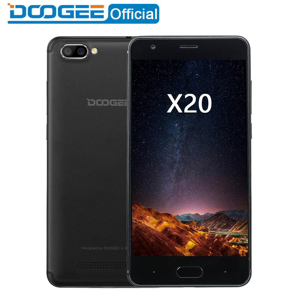 DOOGEE X20 Mobile phone Dual Camera 5.0MP+5.0MP Android 7.0 2580mAh 5.0''HD <font><b>MTK6580A</b></font> Quad Core 2GB RAM 16GB ROM Smartphone WCDMA image