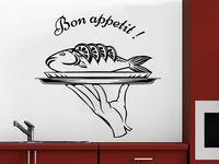 Wall Decal Bon Appetit Vinyl Sticker Fish Dish Food Kitchen Cafe Canteen