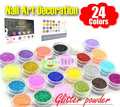 New 24 Color Metal Shiny Glitter Nail Art Tool Kit Acrylic UV Powder Dust gem Nail Tools Decoration 1007