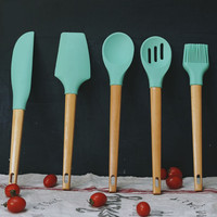 6pcs/set Green FDA Silicone Bakeware Set Wood Handle Kitchen Cooking Tools Utensils Nonstic Kitchen Scraper Whisk Brush Kit
