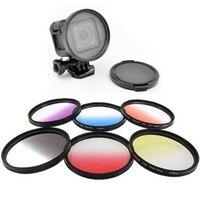 Gopro lente gradiente filtro 58mm rojo/amarillo/púrpura/gris/orange/verde/azul graduado destornillador de color con tapa del objetivo para el período de sesiones de 4