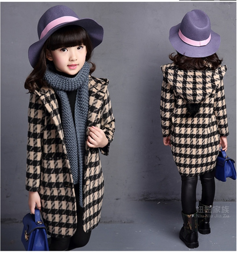 2018 New Winter Teenager Young Girls   Trench   Coat Fashion Cotton Hooded Plaid Thicken Princess Outerwear Jacket Children Clothes