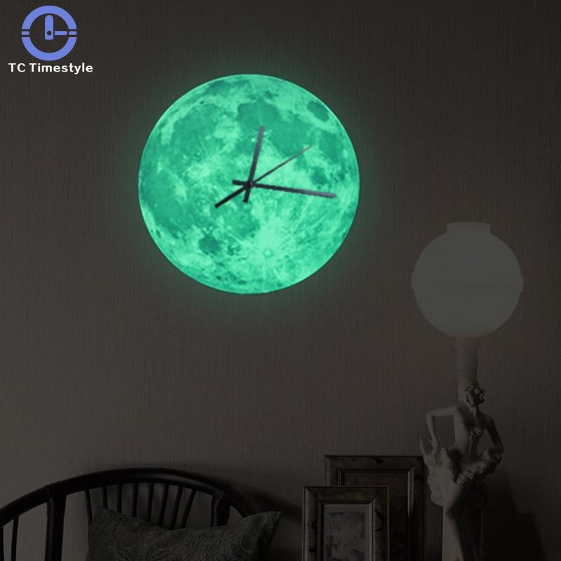 Living Room Mute Wall Clock Creative Light 30cm Children Room Luminous Moon Sticker Quartz Sweep Movement Home Decor Fluorescent