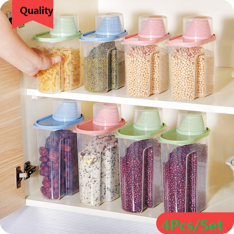 4Pcs/Set with Cup Lid Transparent Cover PP+PE Storage Tank Cylinder Food Box Kitchen Utensils Household 1800/2500ml 4Colors