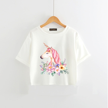 Women's Unicorn And Flowers Patterned Crop T-Shirt