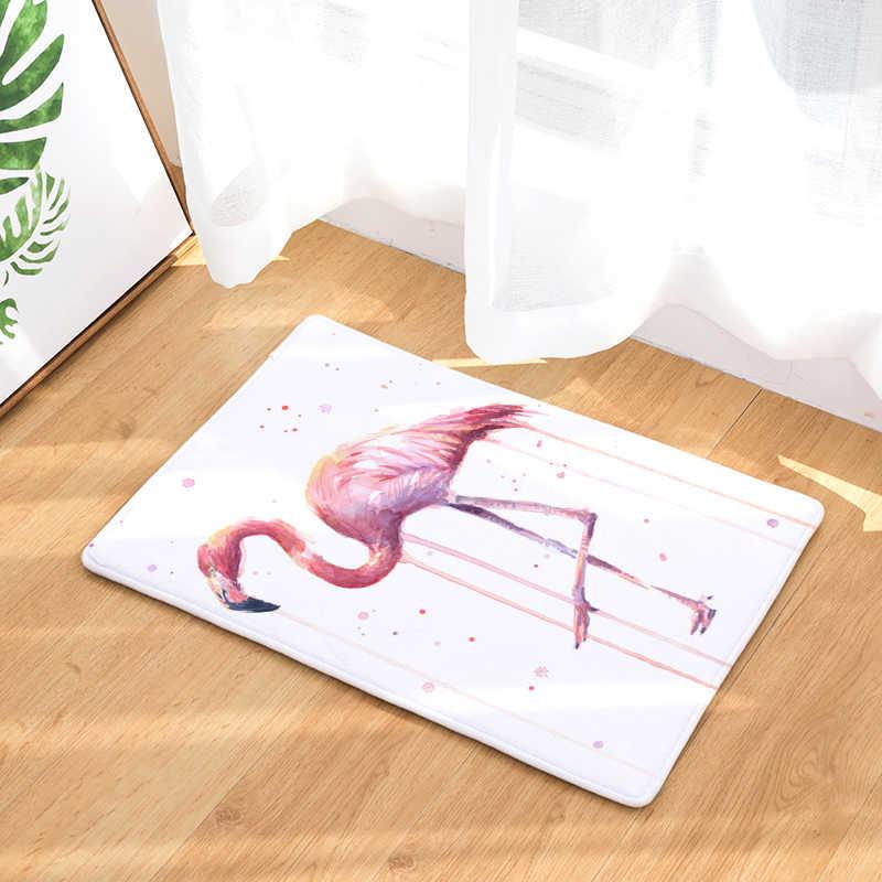 الشمال INS نمط المطبوعة سجادة باب فلامنغو الكرتون السجاد مصنع حصيرة غرفة نوم الباب السرير مغطاة بطانية