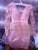 Real Photos Celebrity dress Long sleeve V-neck Myriam fares friend Tube Sheath Knee length Custome