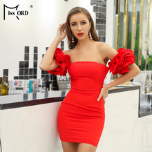 Missord 2019 Women's Summer Sexy Strapless Elegant Dress Women's Ruffled Solid Color Mini Dress FT18981