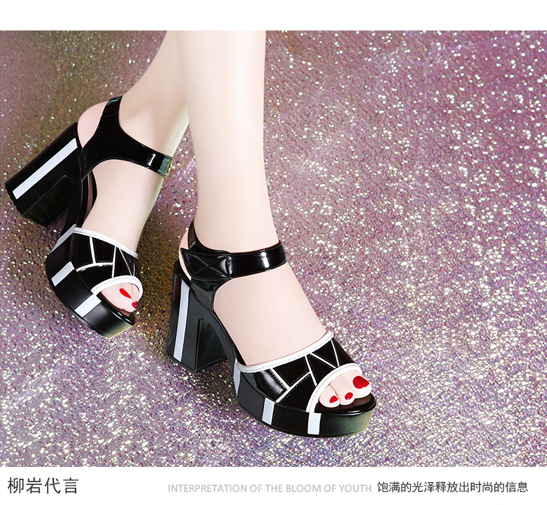 black white women high heel shoes comfortable summer pumps square