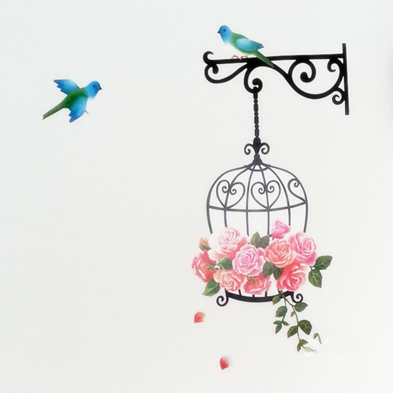 Cartoon Bird and Birdcage wall stickers for children ...