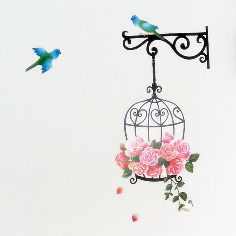 Pájaro y la jaula de pegatinas de pared de dibujos animados para niños diy decor