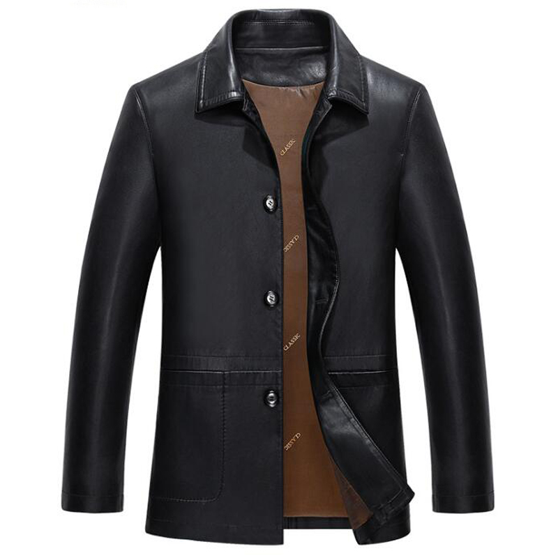 New Fashion Designer Business Mens Leather Jacket Coats Plus Size Formal Natural Soft PU Leather Jackets Overcoat for Men C2107