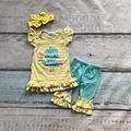 baby Easter design cotton Girls kids wear chick yellow stripes solid bule ruffles capris with matching accessories bow