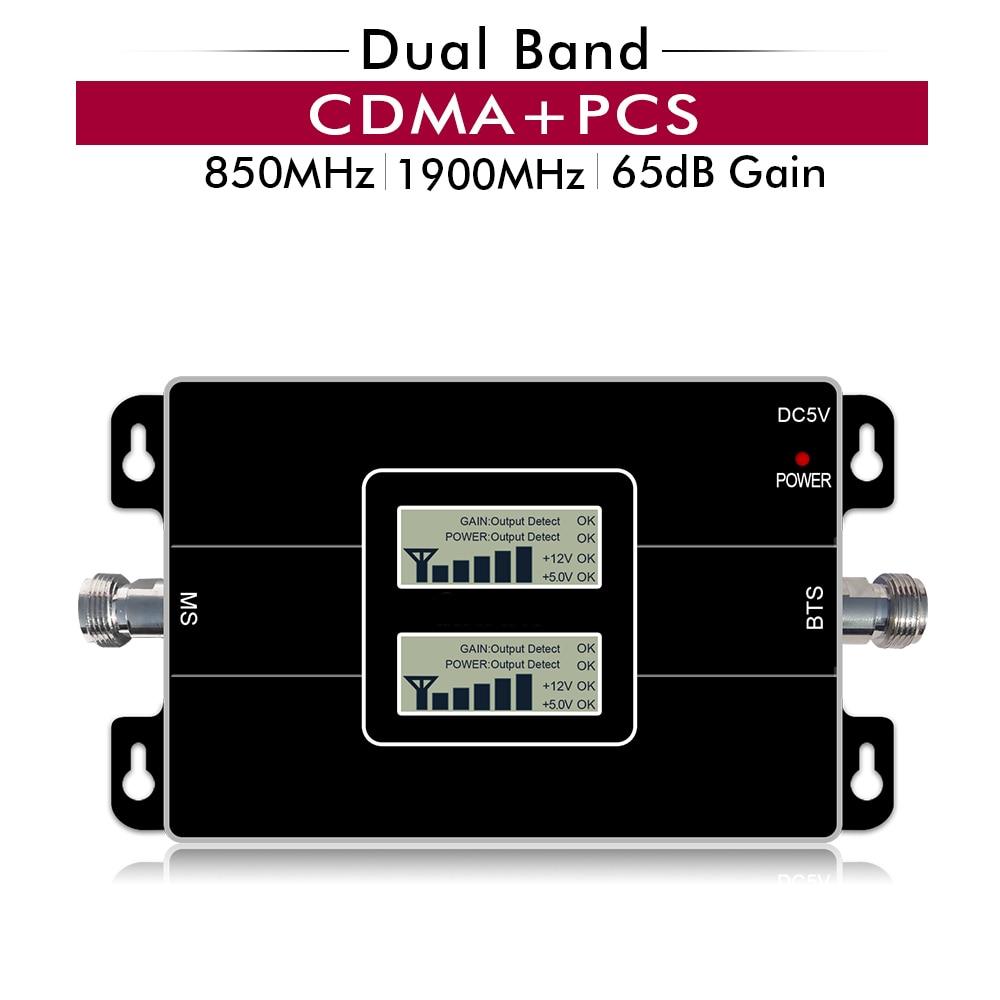 65dB Gain 17dBm Dual Band Repeater CDMA 850mhz PCS 1900mhz Band 5 Band 2 Cellular Mobile