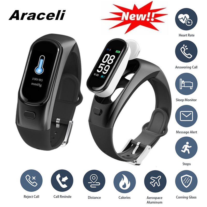 2019 Bluetooth Wireless Call Earphone Smartband Heart Rate Blood Pressure Sleep Tracker Smart Bracelet Pulsera Inteligente