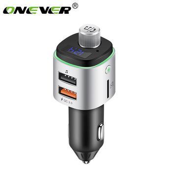 Onever transmisor FM Aux modulador Bluetooth manos libres Kit de coche de Audio de coche MP3 jugador con QC3.0 carga rápida de puerto Dual USB