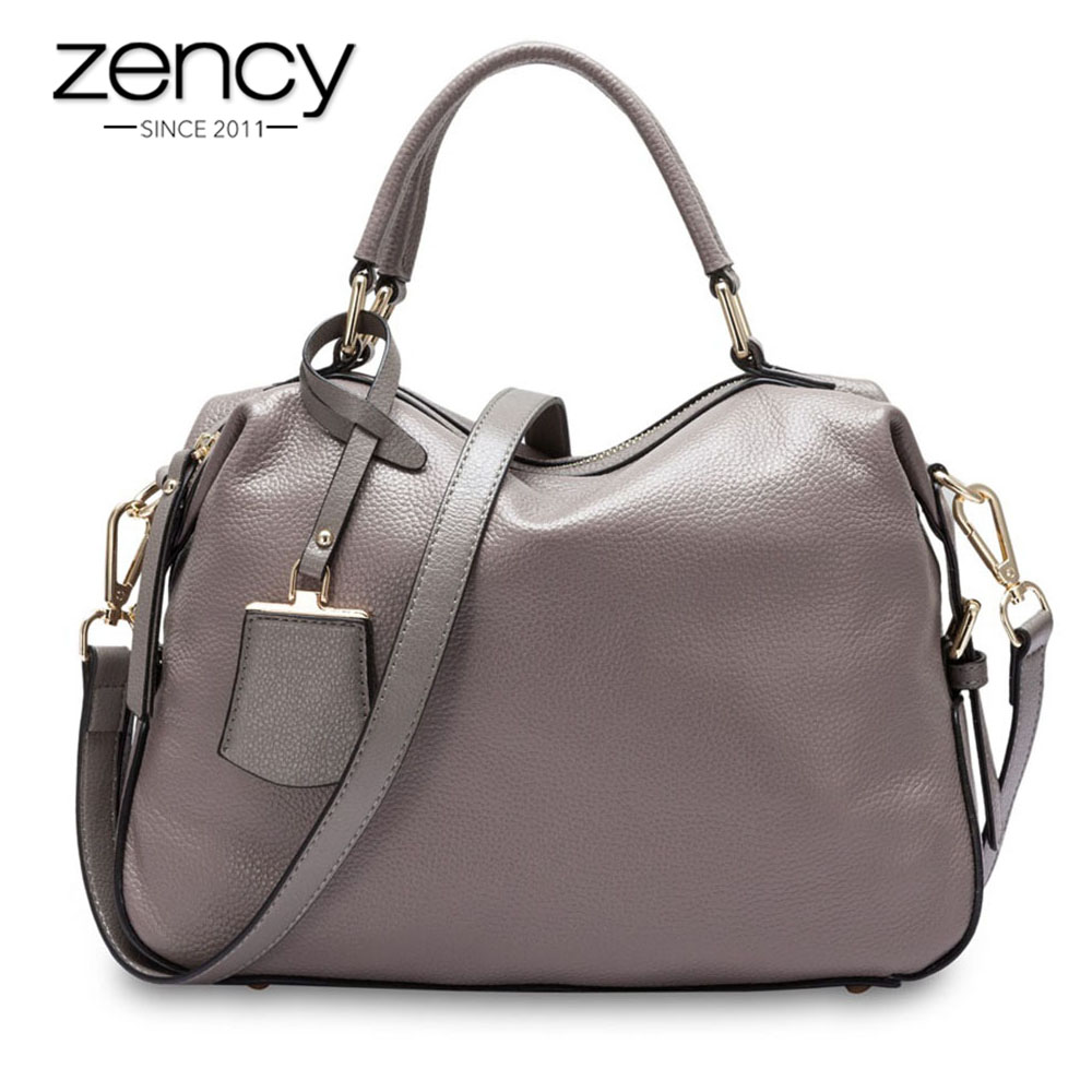 Zency 100 Genuine Leather Handbags Fashion Women Tote Bag Female Boston Charm Luxury Messenger Crossbody Purse