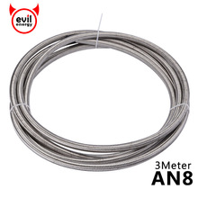 evil energy AN8 3Meter Stainless Steel PTFE Teflon Braided Teflon Oil Line Fuel Hose Brake Hose Teflon Line Racing Hose цены онлайн