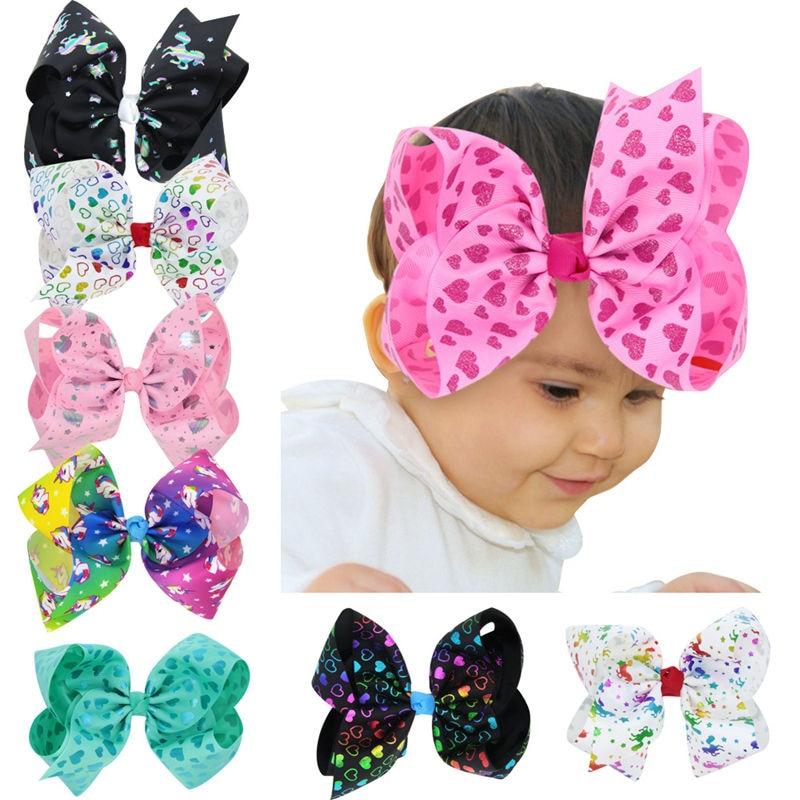 Naturalwell Children Girl Large Hair bow Hair Clip 17X13CM Big unicorn Ribbon bow Kids Hairpins Toddler Hair Accessories BB011S