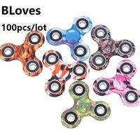 100 Pcs Lot Bloves Camouflage Hand Spinner Tri Spinner Fidget Plastic Wheel Puzzle For Kids Adult
