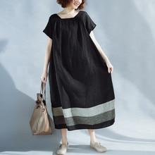 2018 mulheres verão vintage dress simples praça gola de manga curta casual solta vestidos mid-bezerro vestidos plus size