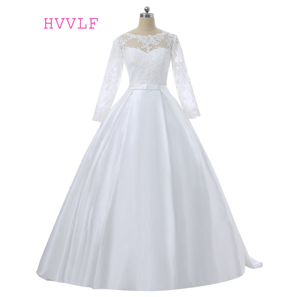 Cheap 2018 wedding dresses ball gown long sleeves lace for Cheap lace wedding dresses with sleeves
