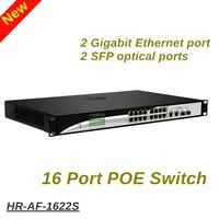 Коммутатор питания через Ethernet 16 портов 10/100 Мбит/с портовой POE питания 2 Порт Gigabit Ethernet порт 360 w ip камеры с питанием по POE и Точка беспроводного