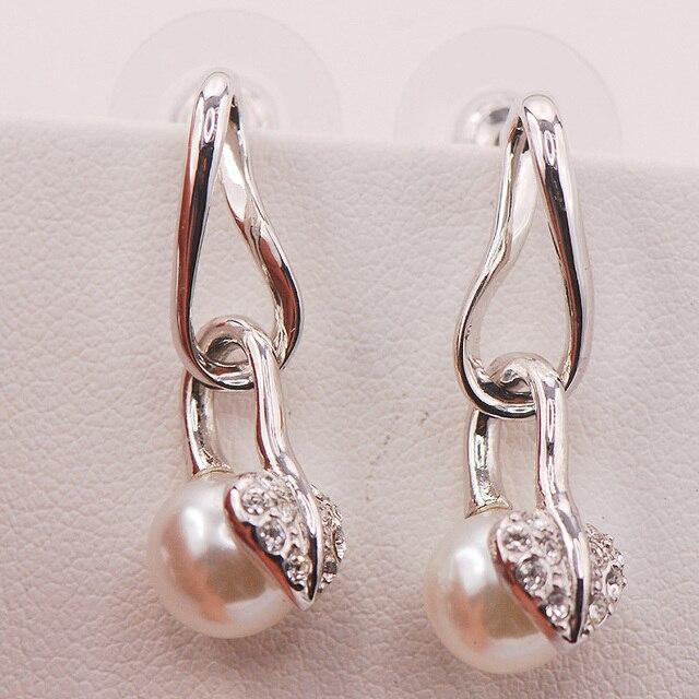 White Pearl Woman 925 Sterling Silver Crystal Earrings TE474
