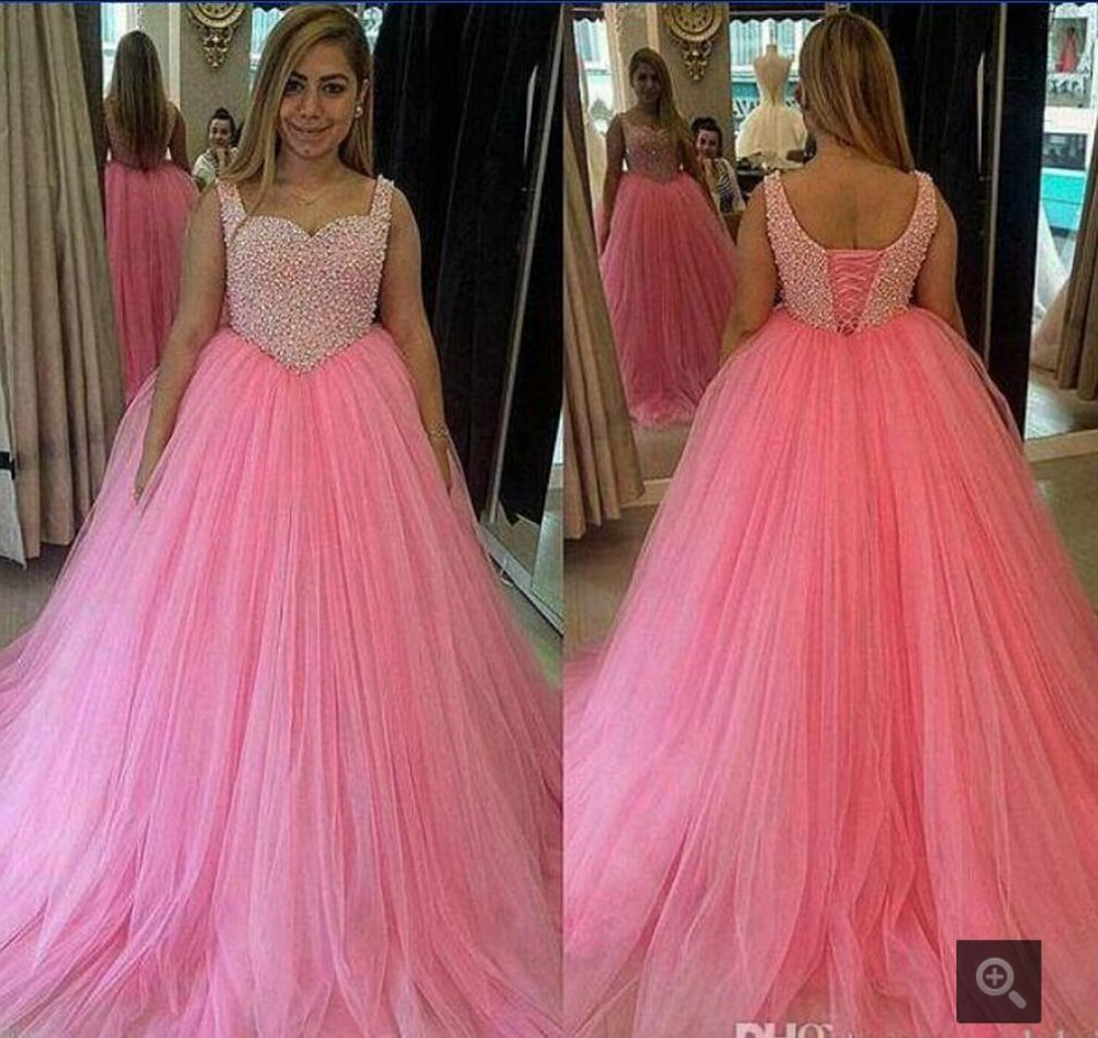 Puffy Pink Beading Rhinestones Prom Dresses Long 2015 Spaghetti Straps Corset Ball Gown Prom Dress Formal Red Carpet Dresses