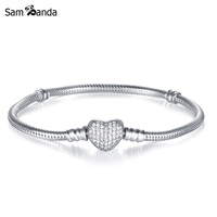 Authentic 925 Sterling Silver Pave Heart Bracelet Clear Crystal Snake Chain Basic Bracelets Fit Pan Women Bead Charm DIY Jewelry