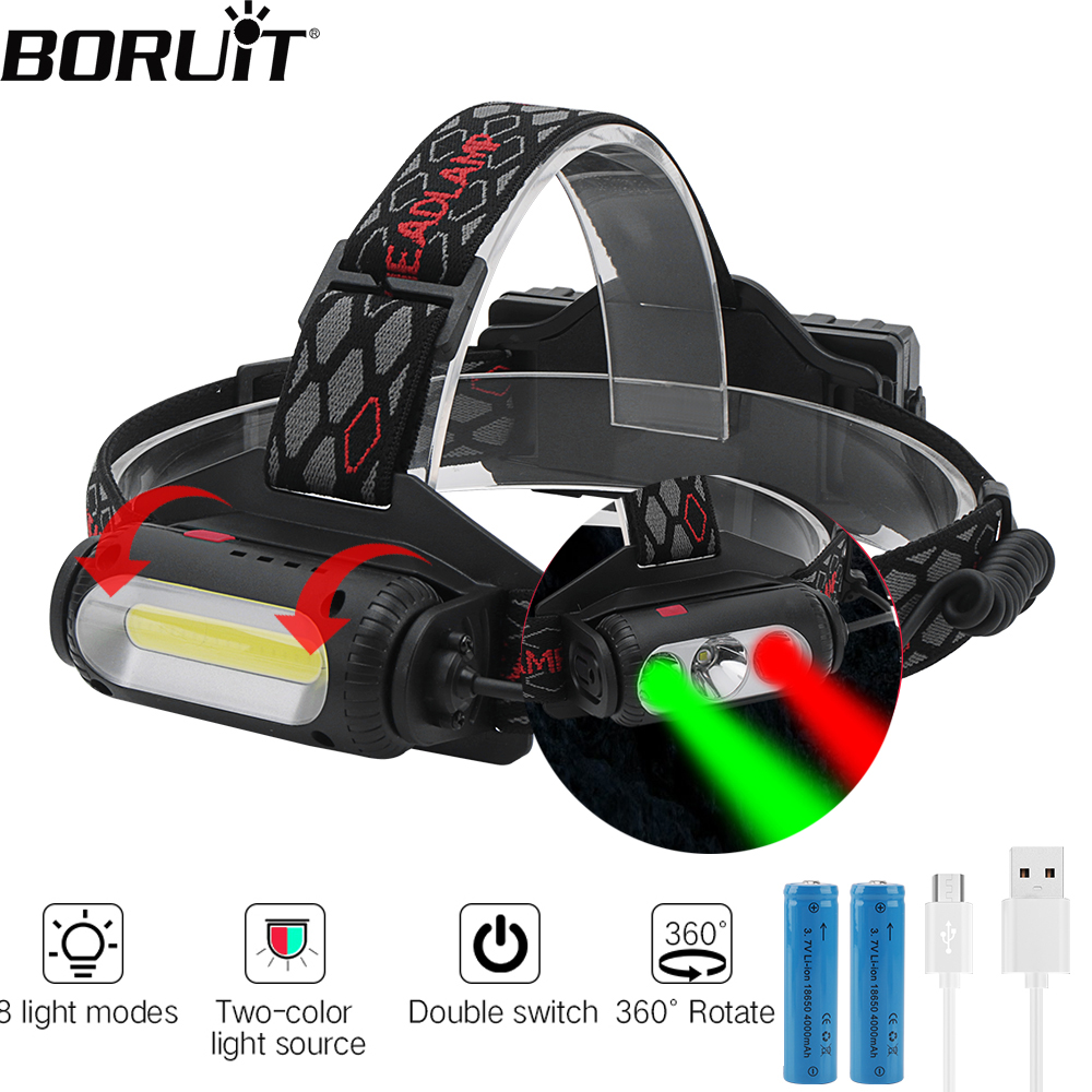 BORUIT Rotating Strong COB T6 XPE LED Headlight Green Red Light 8 Modes Head Torch 18650 Headlamp Camping Hunting Flashlight