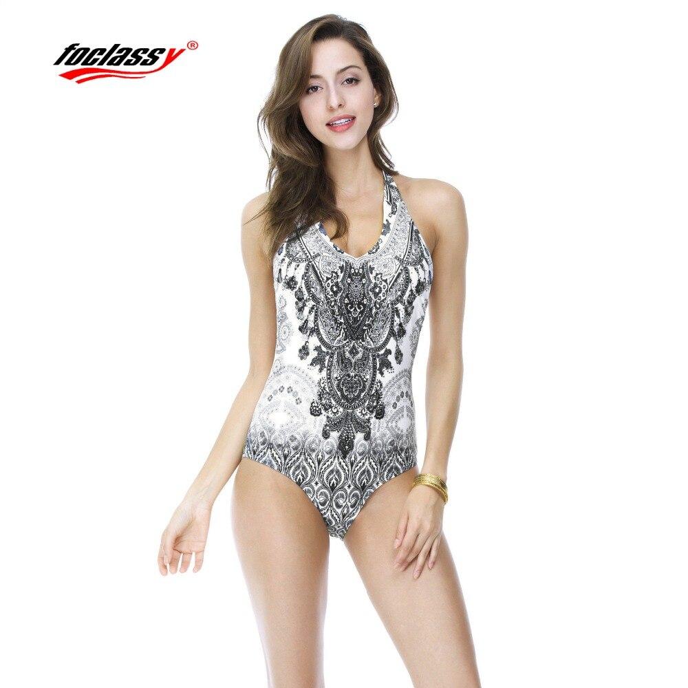 Foclassy Swimsuit Bikini 2017 Plus Size Swimwear Womens swimming Bandeau Bather Bathingsuit Beach Wear one piece suits vintage
