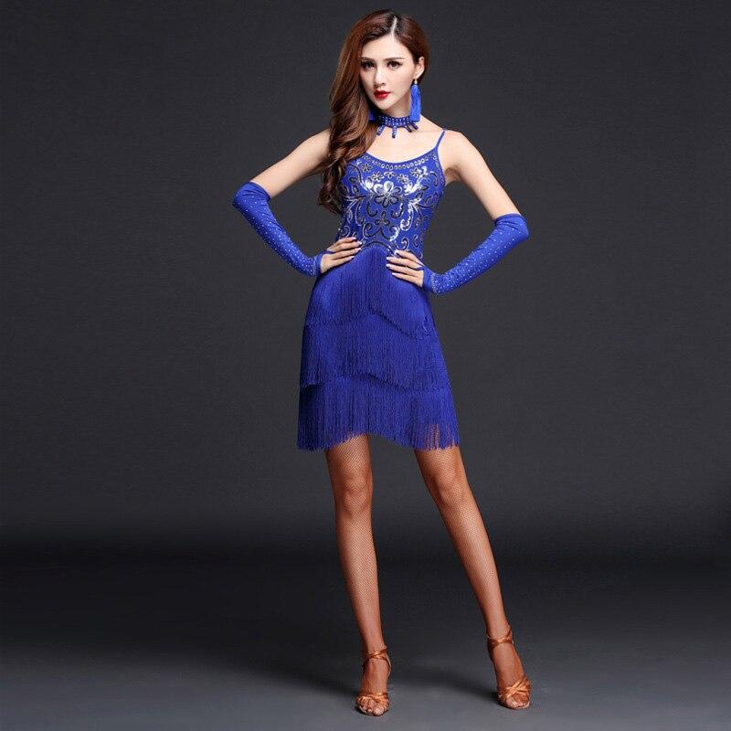 2019 New Sexy Women Performance Latin Dance Clothes Senior Mesh Sequins Latin Dance Dress Tassel Tango Performance Costumes