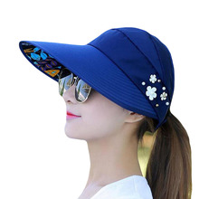 SUOGRY 2018 New Summer Beach Women Sun Hats UV Protection Pearl Packable Visor Hat With Big Heads Wide Brim Female Cap Hot