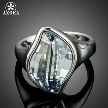 AZORA Luxury Big Blue Crystals Finger Rings for Women White Gold Color Engagement Charming Ring Fashion Jewelry Gifts TR0212