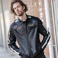 2017 New Man Slim Fit Leather Motorcycle Jacket Black Stand Collar Genuine Sheepskin Short Men Winter Biker Coats FREE SHIPPING