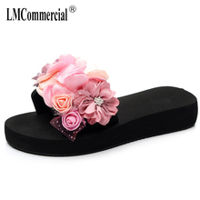 Summer Flowers One word drag female anti-skid outside  slippers fashion vacation beach shoes luxury women designers