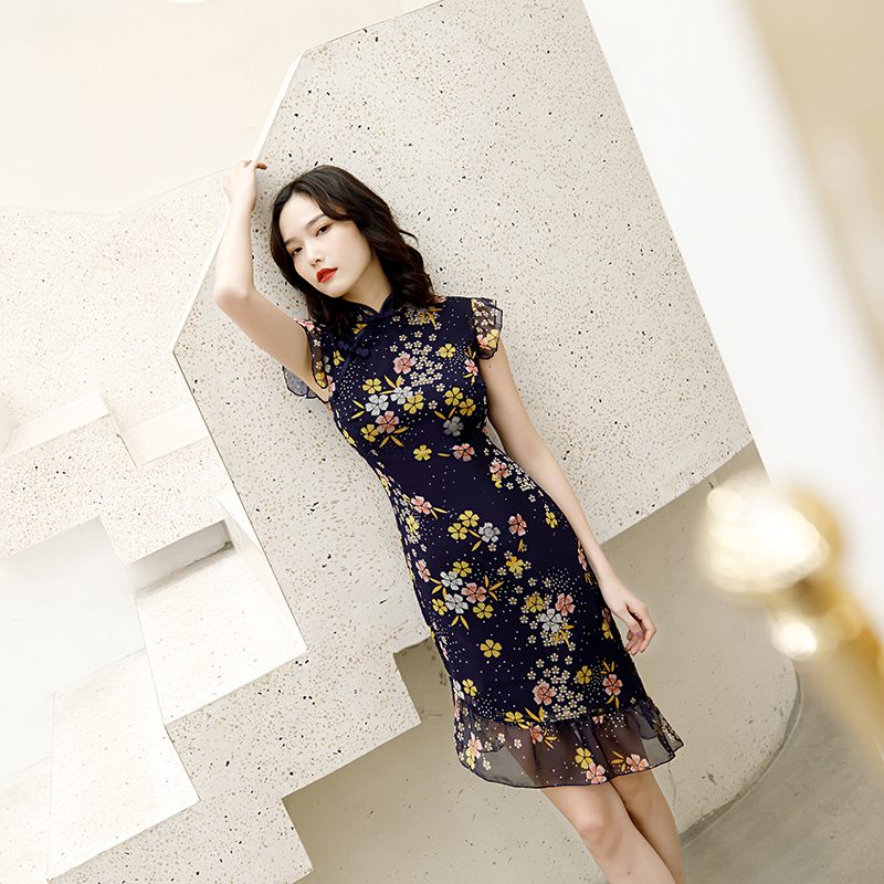2020 Chiness Dress Chiffon Cheongsams Lace Up Flower Print Short Sleeve Chinese Qipao Women Dress Chinese Traditional Dress