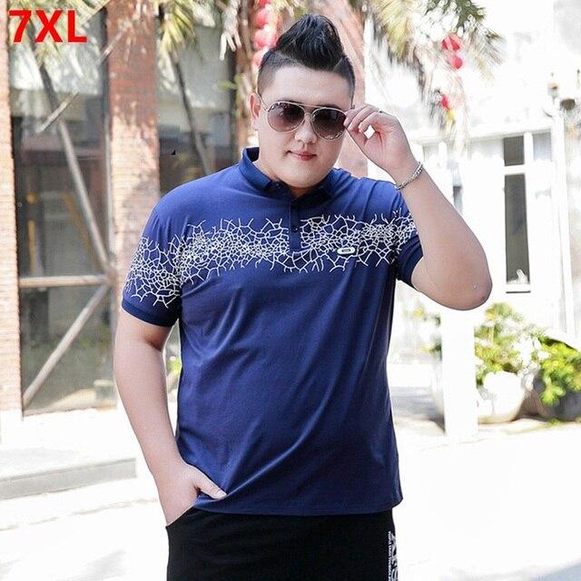 Negócio ocasional do verão plus size 7XL 6XL Polo camisa masculina tamanho grande tendência juventude camisa Polo impressão