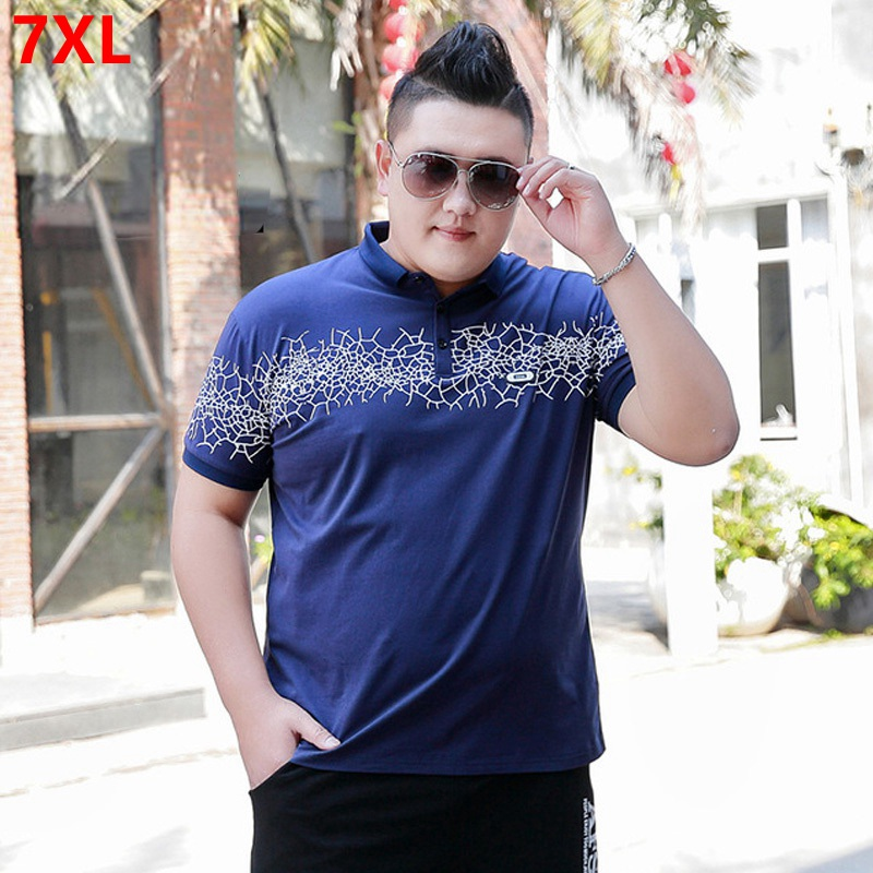 Summer business casual plus size 7XL 6XL   Polo   shirt male large size youth trend printing   Polo   shirt
