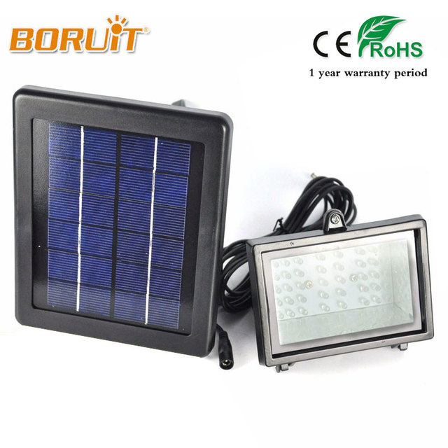 Outdoor 40 White LED Solar Light Landscape Floodlight Solar Lamp Set with 5m Wire+2000mAh Battery