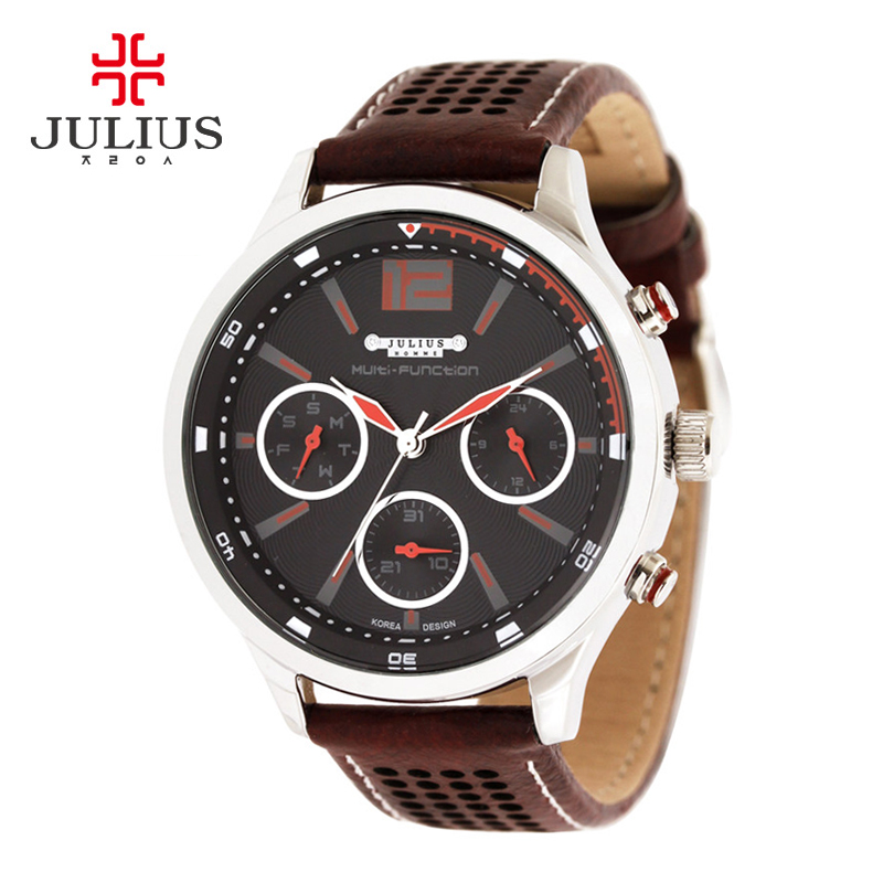 Fashion Erkek Quartz Watch Men JULIUS Relogio Feminino Luminous Bayan Kol Saati Leather Rhinestone Shell Dial Multifunctional fashion erkek saat quartz watch men julius sport relogio masculino montre homme marque de luxe bayan kol saati calendar week