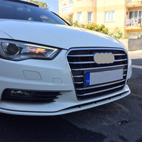 Stainless Steel Car Center Grille Grid Decorative Cover Trim For Audi A3 8V Sedan 2013 2016 Front Fog Lamp Grill Decal Strips