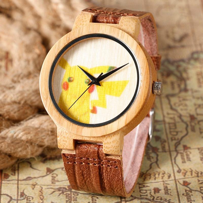 Nette Karikatur Pikachu Form Bambus Uhren Naturholz Herren