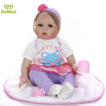 22 pulgadas Boneca reborn girl bebe vivo silicona muñecas juguetes para niños regalo real ture buscando recién nacidos vivos muñecas
