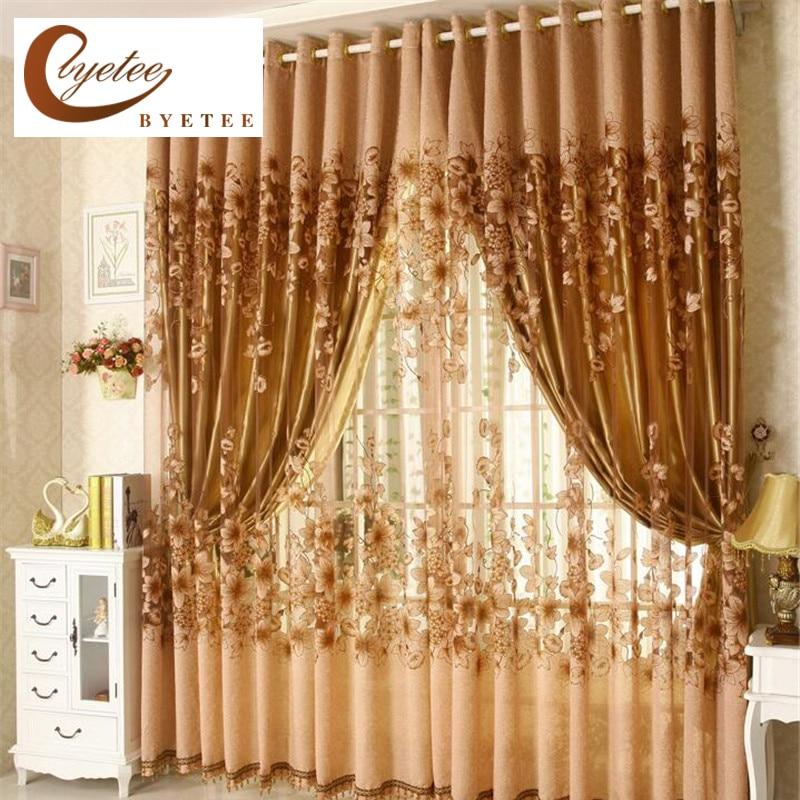 Byetee-ventana de lujo para sala de estar, cortinas para ventana de cocina, transparentes, europeas, acabadas