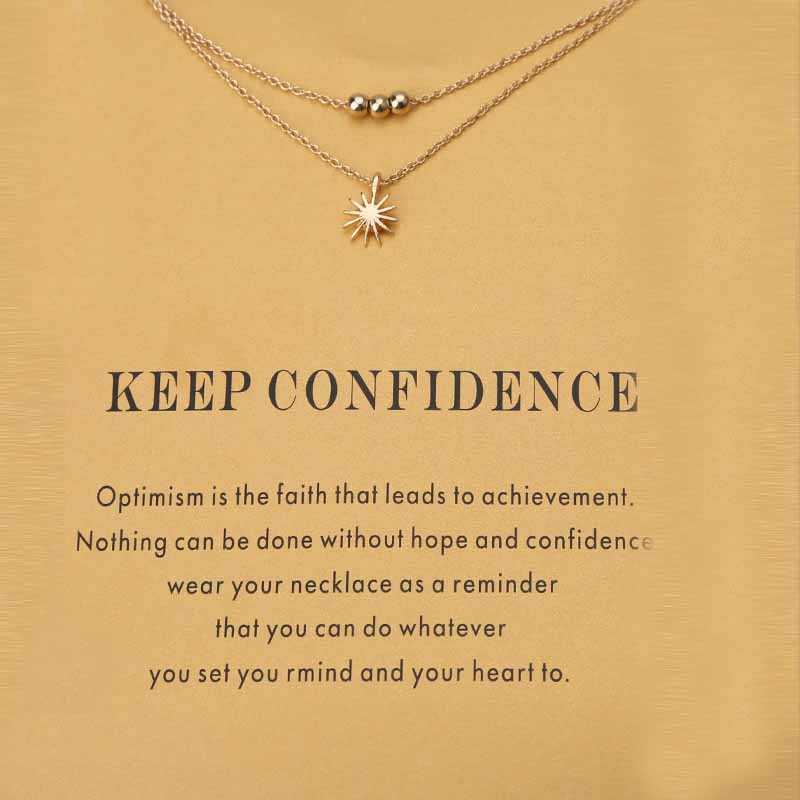 Fashion Simple Multi Layer <font><b>Sun</b></font> Necklace For Women Gold Color Charms Wish Card Pendant Choker Collier Femme <font><b>Jewelry</b></font> Gift image