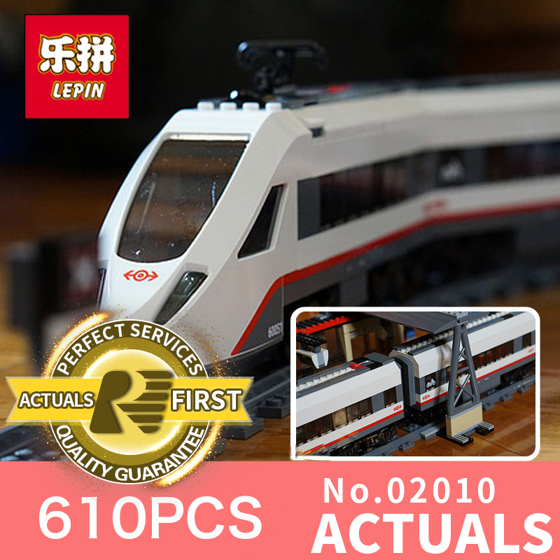 610Pcs Lepin 02010 Creator Series The High-speed Passenger Train Building Remote-control Trucks Set Blocks Bricks Toys 60051 lepin 02010 610pcs city series building blocks rc high speed passenger train education bricks toys for children christmas gifts