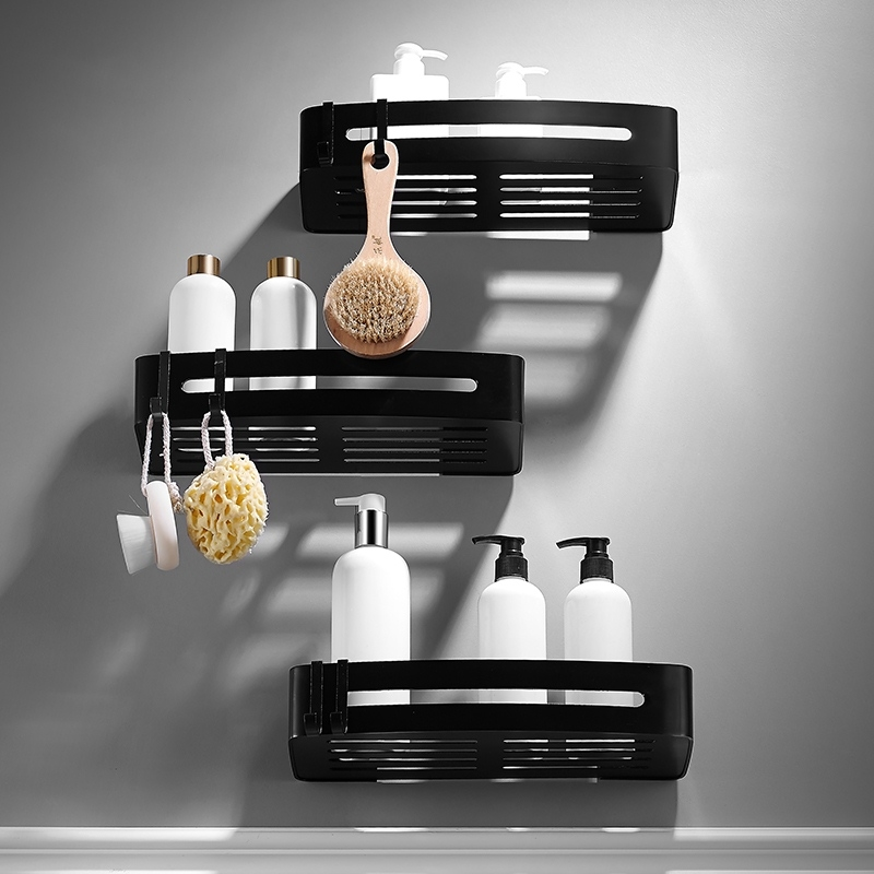 Space Aluminum Bathroom Shelves Black Bathroom Accessories Shower Corner Shelf Shampoo Storage Rack Bathroom Basket Holder