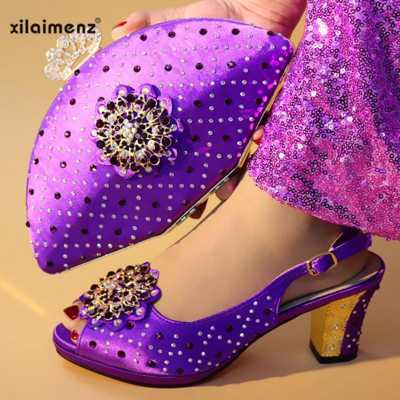 As Vert Picture fuchsia De Talons Sacs Et Nigériane Ensemble Couleur Assorti green Italiennes Chaussures Cristal purple pink Confortable Pour Avec Femme Sac TaTqBrw1